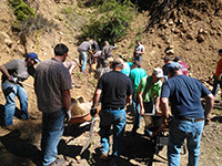 Helpers at Liberty mine